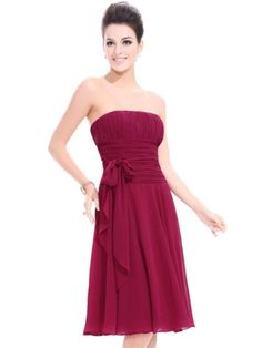 Ever Pretty Chiffon Strapless Reds Ruffles Bow Knee-length Prom Dress 03341 « Dress Adds Everyday