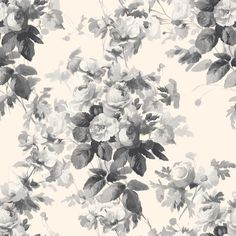 LONDON ROSE Wallpaper Smoke Grey - Wallpaper | HOUSE OF HACKNEY