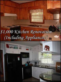 $1,000 Kitchen Renovation (including appliances), Cheap Kitchen Renovation, Inexpensive Renovation, Black and white Kitchen