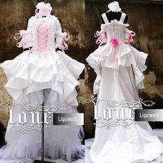 Pink White Gothic Chobits Tea Length Wedding Dresses Cosplay Costumes SKU-131028