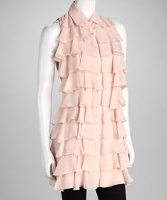 Samuel Dong Light Pink Ruffle Button-Up Tunic by Winter Pastels: Apparel & Accessories on #zulily today!