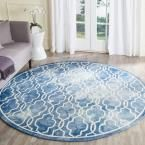 Dip Dye Blue/Ivory 7 ft. x 7 ft. Round Area Rug