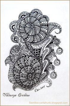 Zentangle, graphic, hand-made, pattern, tangle, графика, рисование гелевой ручкой, черно-белая графика, зентангл, тангл, паттерн.