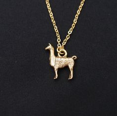 Llama necklace, long necklace option, gold llama charm on gold plated chain, llama gift, Lama Glama, alpaca necklace, llama jewelry