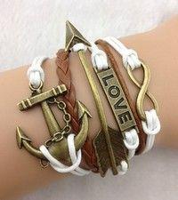Buy Anchor Bracelet, Arrow, Love Infinity Bracelet-Antique Bronze Bracelet-Wax Cords and Braided Bracelet--Friendship 805 at Wish - Shopping Made Fun Hipster Jewelry, Wish Shopping, Cords, Friendship Bracelets, Anchor, Arrow, Infinity, Wax, Braids