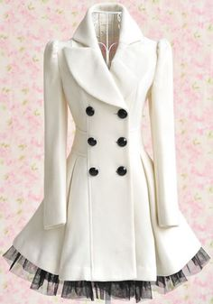 White Patchwork Grenadine Ruffle Double Breasted Wool Coat - Outerwears - Tops