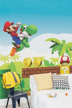 Is your child Super Mario's #1 Fan? This fantastic wallpaper mural is the coolest way to add colour and fun into kid's bedrooms or playrooms. Capturing Mario and Yoshi as they storm their way through the classic platform landscape! To see the full mural which includes characters such as Luigi and Toad, click on the image.