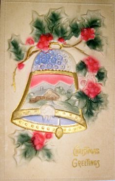 Vintage Postcard, Kerstmis, Bas Relief, kerst bel, Scène van het Dorp in Bell, Holly eromheen, Made in Germany.............................................LB XXX