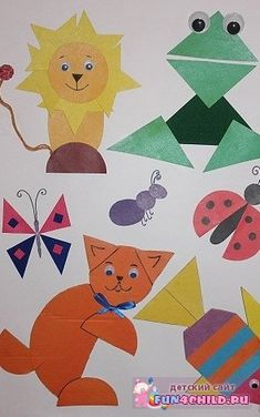 Mouse Crafts, Ladybug Crafts, Animal Art Projects, Animal Crafts, Construction Paper Art, Learning Shapes, Shape Crafts, Shape Art, Art Plastique