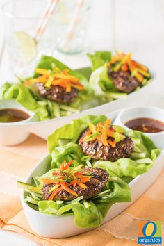 This Asian-inspired Lettuce-Wrapped Slider recipe is a healthier alternative for summer grilling! For an added kick, add grated red chili to your ground beef mixture before grilling.