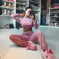 My outfit today🦄 I still have a lot to do but my room is finally coming together👼🏻 - Amanda Khamkaew ( Chill Outfits, Mode Outfits, Becky G Outfits, Fashion Outfits, Satin Pyjama Set, Pajama Set, Womens Fashion Online, Latest Fashion For Women, Jolie Lingerie