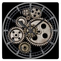 steampunk gears cogs square machine clock. For lovers of the steam punk genre this mix of cast iron metal, shiny and dull metallic watch engine clock is a dream gift. The ancient looking gears and cogs of the clock and the vintage iron numbers on a black panel make this mechanical engine clock an easy to read yet interesting machine and a perfect victorian steampunk gift. Background can be customised to a colour of your own choosing by clicking CUSTOMIZEIT>EDIT>BACKGROUND and choose your…
