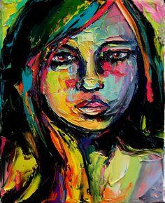 Portrait painting abstract impasto oil by SagittariusGallery