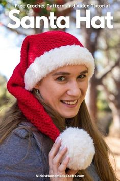 Learn how to crochet this long and cute Santa Hat using this free pattern. It uses basic crochet stitches as well as worsted weight and faux fur yarn and is perfect for the Holiday and Christmas season. It can be made in any size you want. It's the perfect quick weekend project for sure. Video Tutorial included. #crochet #pattern #crochetpattern #diy #freecrochetpattern #freepattern #worstedyarn #yarn #crochetearrings #diyprojects #diyideas #crochetstitch #tutorial #giftideas #stitchtutorial… Crochet Santa Hat, Crochet Kids Hats, Cute Crochet, Crotchet, Beginner Crochet Tutorial, Crochet Basics, Crochet For Beginners, Crochet Tutorials, Christmas Crochet Patterns