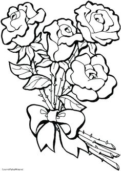 Rose Coloring Pages Images - Printable Coloring Pages To Print Printable Flower Coloring Pages, Rose Coloring Pages, Barbie Coloring Pages, Coloring Books, Coloring Sheets For Kids, Coloring Pages For Girls, Coloring Pages To Print, Rose Flower Colors, Colorful Flowers