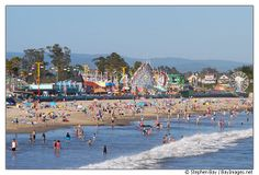 santa cruz ca pictures | Beach and Boardwalk at Santa Cruz, California, USA.