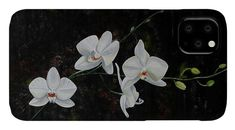 Abstract IPhone Case featuring the painting White Orchid by Iulia Paun