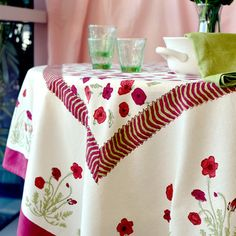 Couleur Nature Poppies Square Tablecloth