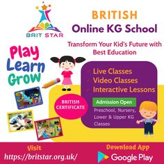 Do you want to transform the future of your kids with best educational facilities? Brit Star - Online KG School is all here for you! Enroll your child now at Brit Star and let them enjoy learning through interactive lessons, video classes and live sessions. Kids Learning, Cool Kids, Preschool, Nursery, App, Star, Education, Future, Live