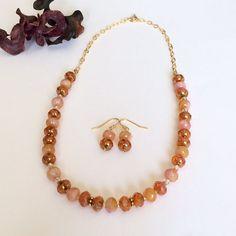 Orange Necklace Earring Set Orange Bead by BarbsBeadedJewelry