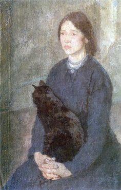 Young woman holding a black cat - Gwen John - 1920.