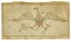 """Pennsylvania watercolor fraktur drawing of a spread winged eagle, ca. 1830, 3 5/8"""" x 6 1/2"""""""