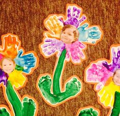 Preschool flower project (handprints, footprints, flower, spring, Shavuos, Shavuot, Jewish holiday, paint, kids)