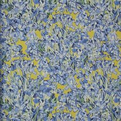 Irises Wallpaper in Blue Yellow from the Van Gogh Collection by Burke Decor
