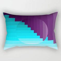 Ups and Down | Deep Within | Purple | Blue | Turquoise Rectangular Pillow Lumbar Pillow, Bed Pillows, Poplin Fabric, Accent Decor, Purple, Blue, Turquoise, Contemporary, Deep