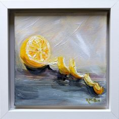 'Lemon' A still life . White Wooden Box, Cool Art, Fun Art, Irish Art, Canvas Board, Box Frames, Acrylic Art, Impressionist, Lemonade