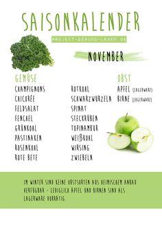 Saisonkalender November | Projekt: Gesund leben | Ernährung, Bewegung & Entspannung