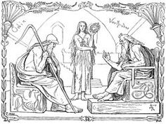 """Vavtrudner var en jätte i nordisk mytologi, """"stark i invecklade spörsmål"""". Oden besöker Vavtrudner, förklädd till Gagnråd för att få veta hur vis och kunnig jätten egentligen är.  Oden och Vaftrudner ställer frågor till varandra om världarna och deras tillkomst och Vaftrudner svarar rätt på alla frågor utom den sista:  Vad viskade Oden i Balders öra?  Därmed hade Oden övervunnit jättens visdom.  Foto: Oden spelar frågespel med Vavtrudner"""