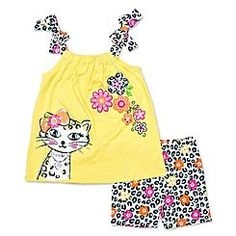 Young Hearts Infant & Toddler Girl's Tank Top & Shorts - Cat