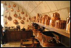 My love of copper in kitchens goes back Chateau de Chenonceau, France - the kitchens were amazing, note the curved ceiling!