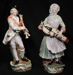 Pair 13  Antique Meissen Porcelain Figure Bagpiper Hurdy Gurdy Man Woman Germany