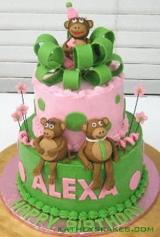 Hand-made fondant monkeys.  One of my favorite cakes!