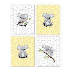 Koala Bear. Prints. Gray. Yellow. Home Decor. by YassisPlace