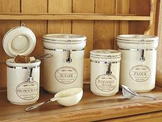 Canisters 4 Piece Set Sugar Brown & Powdered Flour Storage Containers Crock Pots CHEFS