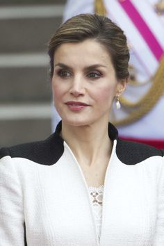 Queen Letizia of Spain (earrings detail) attends the Armed Forces Day Hommage on May 28, 2016 in Madrid, Spain.