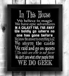 Geek House Rules Gift Wedding Wall Art Christmas For Trekkie Sci Fi Fantasy Gamer