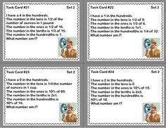 MATH TASK CARDS- NUMBER DETECTIVE GRADES 5-6 DECIMALS TO THE HUNDREDTHS - TeachersPayTeachers.com