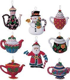 Bucilla Mary ENGELBREIT Santa CHRISTMAS TEAPOTS Felt Ornaments Kit- VERY RARE #Bucilla #ChristmasStockingKit