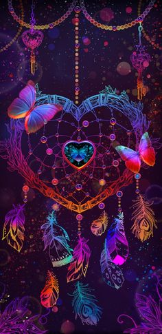 colorful dream catcher with butterfly and fancy neon. Dream Catcher Wallpaper Iphone, Heart Wallpaper, Butterfly Wallpaper, Cute Wallpaper Backgrounds, Pretty Wallpapers, Cellphone Wallpaper, Galaxy Wallpaper, Cool Wallpaper, Iphone Wallpaper