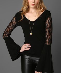 Loving this Du Jour Paris Black Lace-Sleeve V-Neck Top on #zulily! #zulilyfinds