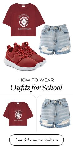 """""""basic school day"""" by alanawedge59 on Polyvore featuring NIKE, Yves Saint Laurent and Topshop"""