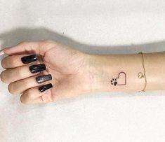 Small Dog Tattoos, Small Heart Tattoos, Tiny Tattoos For Girls, Heart Tattoo Designs, Little Tattoos, Mini Tattoos, Cool Tattoos, Simple Tattoos On Wrist, Tatoos