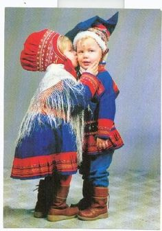 Cute pair of Finnish Sami children in traditional costumes of Lapland Cool Baby, We Are The World, People Of The World, Precious Children, Beautiful Children, Folklore, Iron Age, My Heritage, World Cultures