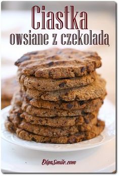 Oatmeal cookies with chocolate Oatmeal Cookies, Healthy Snacks, Cereal, Food And Drink, Gluten Free, Sweets, Chocolate, Breakfast, Recipes