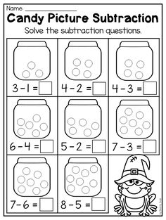 Kindergarten Candy Picture Subtraction for Halloween. This Kindergarten Halloween Worksheet Pack features 44 NO PREP worksheets. The pack includes both Math and Literacy worksheets which are perfect for the month of October. There are so many diverse activities relating to beginning sounds, ending sounds, short vowels, CVC words, alphabet work, syllables, rhyming, number order, counting, addition, subtraction, place value, shapes, word problems and so much more!!