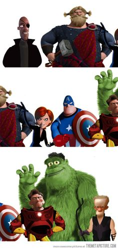 Pixar's The Avengers. How does this fit so surprisingly well?